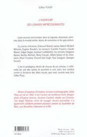 L'Aventure Des Grands Impressionnistes - 4ème de couverture - Format classique