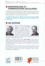 Endocrinologie Et Communications Cellulaires ; Edition 2001 - 4ème de couverture - Format classique
