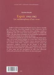 Metamorphoses D'Une Revue, Esprit: 1944-1982 (Les) - 4ème de couverture - Format classique