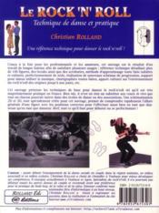 Le rock'n'roll : technique de danse et pratique - 4ème de couverture - Format classique