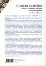 G comme geometrie t.1 ; l'harmonie terrestre ; l'harmonie astrale - 4ème de couverture - Format classique