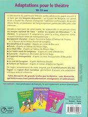 Adaptations Pour Le Theatre 10-15 Ans - 4ème de couverture - Format classique