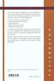 Cours Et Exercices De Resistance Des Materiaux Elasticite Plasticite Elements Finis - 4ème de couverture - Format classique
