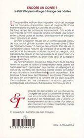 Encore Un Conte ? Le Petit Chaperon Rouge A L'Usage Des Adultes - 4ème de couverture - Format classique