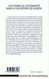 Les Formes De L'Exteriorite Dans La Philosophie De Husserl - 4ème de couverture - Format classique
