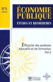 Efficacite Des Systemes Educatifs Vol2 - Economie Publique 00/2 - Intérieur - Format classique