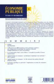 Efficacite Des Systemes Educatifs Vol2 - Economie Publique 00/2 - 4ème de couverture - Format classique