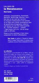 Les Mots De La Renaissance - 4ème de couverture - Format classique