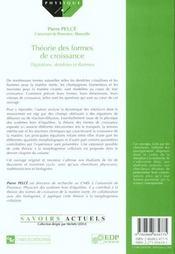 Theorie des formes de croissance ; digitations, dendrites et flammes - 4ème de couverture - Format classique