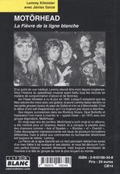 Motörhead ; la fièvre de la ligne blanche - 4ème de couverture - Format classique