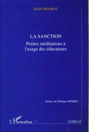 La Sanction - Petits Meditations A L'Usage Des Educateurs - Intérieur - Format classique