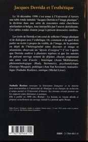 Jacques Derrida Et L'Esthetique - 4ème de couverture - Format classique