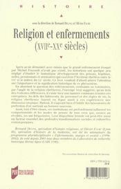 Religion Et Enfermement - 4ème de couverture - Format classique