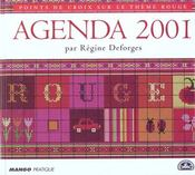 Points de croix sur le thème rouge ; agenda 2001 - Intérieur - Format classique