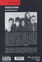 Indochine ; insolence rock - 4ème de couverture - Format classique