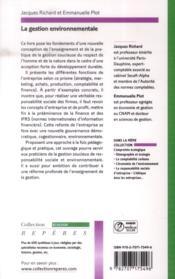 La gestion environnementale - 4ème de couverture - Format classique