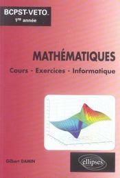 Mathématiques ; cours et exercices d'application classe bcpst-véto 1ère année - Intérieur - Format classique