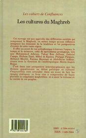 Les Cultures Du Maghreb - 4ème de couverture - Format classique