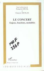 Le Concert ; Enjeux Fonctions Modalites - Intérieur - Format classique