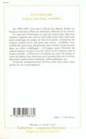 Le Concert ; Enjeux Fonctions Modalites - 4ème de couverture - Format classique