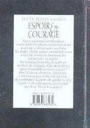 Espoir et courage - 4ème de couverture - Format classique