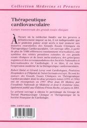 Therapeutique Cardiovasculaire 3ed - 4ème de couverture - Format classique