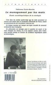 Le Management Par Les Mots ; Etude Sociolinguistique De La Neologie - 4ème de couverture - Format classique
