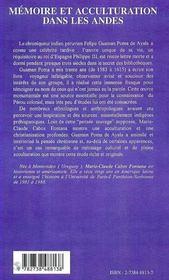 Memoire Et Acculturation Dans Les Andes ; Guaman Poma De Ayala Et Les Influences Europeennes - 4ème de couverture - Format classique