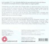La disgrâce de Jean-Sébastien Bach - 4ème de couverture - Format classique