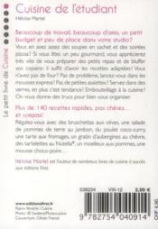 Cuisine de l'étudiant (2e édition) - 4ème de couverture - Format classique