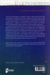 Le travail entre droit et cinéma - 4ème de couverture - Format classique
