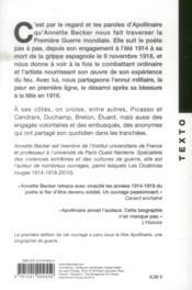 La grande guerre d'Apollinaire ; un poète combattant - 4ème de couverture - Format classique