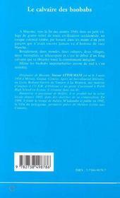 Le Calvaire Des Baobabs - 4ème de couverture - Format classique