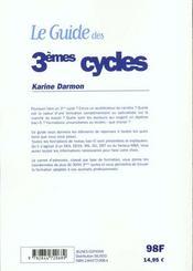 Guide Des Troisiemes Cycles - 4ème de couverture - Format classique