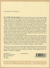 Le livre de Saladin - 4ème de couverture - Format classique