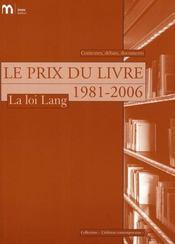 Le prix du livre, 1981-2006 ; la loi Lang - Intérieur - Format classique