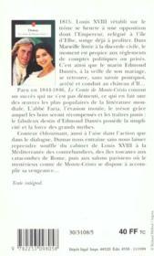 Le Comte De Monte-Cristo Tome 1 - 4ème de couverture - Format classique