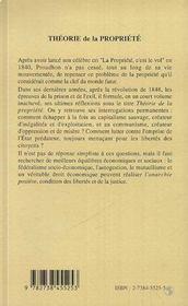 Theorie De La Propriete - 4ème de couverture - Format classique
