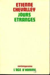 Jours Etranges T.1 - Couverture - Format classique