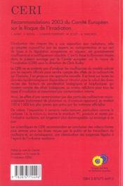 Recommandations 2003 Du Comite Europeen Sur Le Risque De L'Irradiation - 4ème de couverture - Format classique