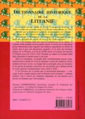 Dictionnaire historique de la Lituanie - 4ème de couverture - Format classique