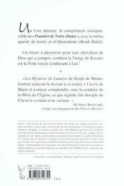 Le Psautier De Notre Dame - Mysteres De Lumiere - 4ème de couverture - Format classique