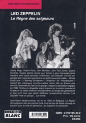Led Zeppelin ; le règne des seigneurs - 4ème de couverture - Format classique