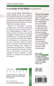 La sociologie de Max Weber - 4ème de couverture - Format classique