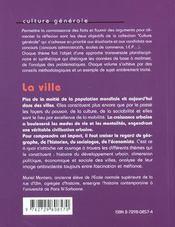 La Ville Les Faits Les Arguments Un Sujet Corrige - 4ème de couverture - Format classique