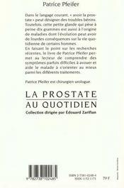La Prostate Au Quotidien - 4ème de couverture - Format classique