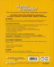 A Nous Le Monde ; Cm1 ; Le Manuel (Edition 2003) - 4ème de couverture - Format classique