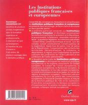 Zoom'S Instit. Publiques Fran. Et Europ. - 4ème de couverture - Format classique