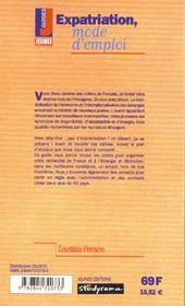 Expatriation mode d'emploi ; 3e edition - 4ème de couverture - Format classique