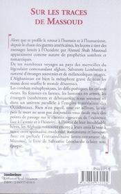 Sur Les Traces De Massoud. Carnets Afghans. En Prélude, Une Lettre-Testament Du Commandant Massoud - 4ème de couverture - Format classique